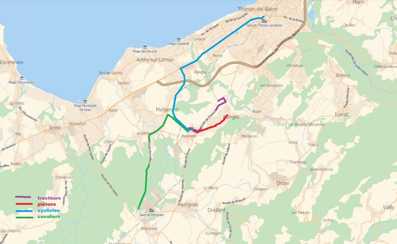 itinéraire piétons, cyclistes, vélos tracteurs de l'agrovélorution